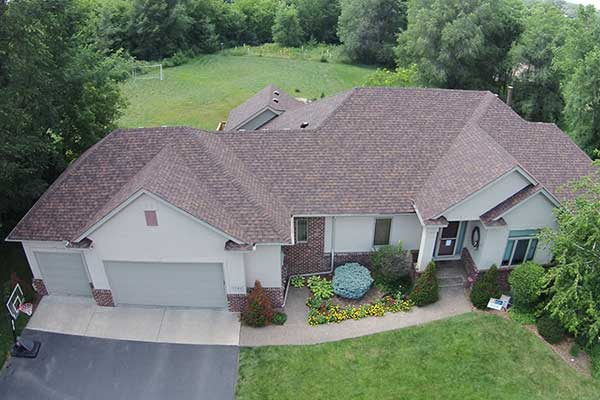 Overhead photo of a house